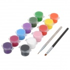 DIY 12-Corlor Nail Art Colored Drawing Material + Drawing Pen Set - Multi-colored + Traparent