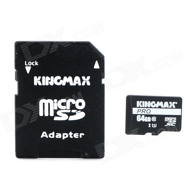 KINGMAX Micro SDXC Pro / TF Memory Card w/ SD Card Adapter - Black (64GB / Class 10) micro sd card 128gb class10 tf card pro sdxc u3 sd card ultra high speed flash memory card with retail packaging