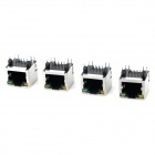 RJ45 Shield Network Sockets w/ Indicator - Silver + Black (4 PCS)