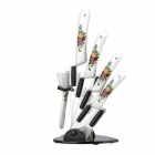 "Bestlead 6-in-1 Kitchen Peony Pattern 3"" 4"" 5"" 6"" Zirconia Ceramic Knives + Peeler + Holder"