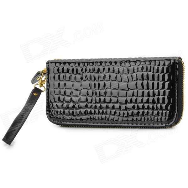 Fashion Long Style Women's Zipper PU Wallet - Black