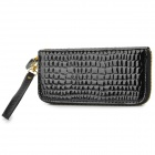 Mode lange Art-Frauen Zipper PU Wallet - Schwarz