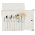 10-in-1 Professional Cosmetic Makeup Brushes - Silver + White (10PCS)