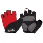 TOPCYCLING Outdoor Sports Cycling Half-Finger Gloves - Black + Red (Pair / Size M)