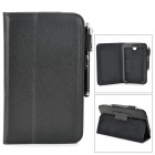 Protective PU Leather Case w/ Aluminium Alloy Stylus for 7 Samsung Galaxy Tab3 7.0 T210 - Black