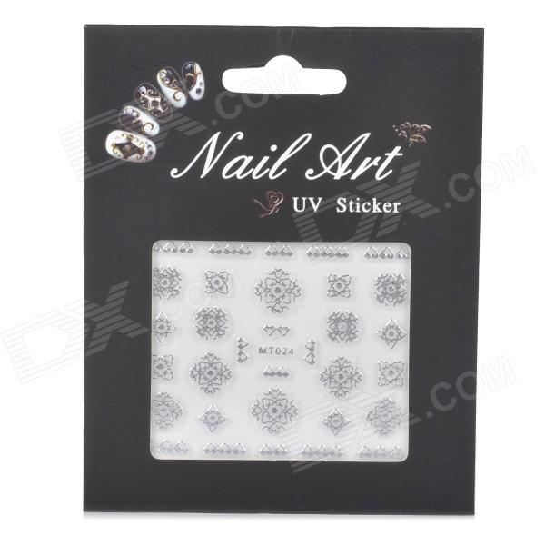 MT024 Fashionabla 3D Hollow Out Flower Style Nail Art Sticker - Silver