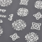 MT024 Fashionable 3D Hollow Out Flower Style Nail Art Sticker - Silver