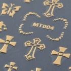 MT004 Fashionable 3D Hollow Out Cross Style Nail Art Sticker - Golden