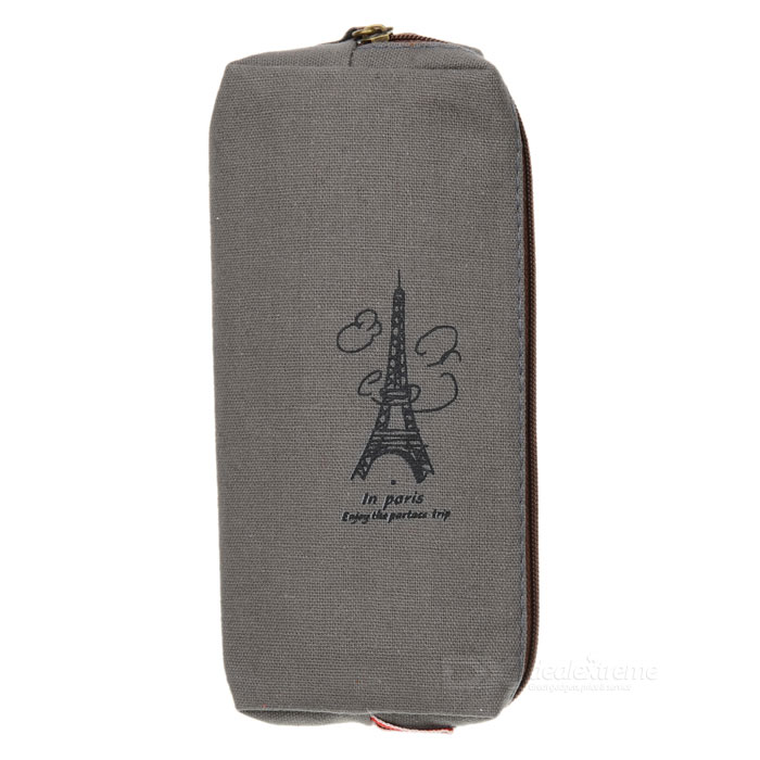 Retro Eiffel Tower Pattern Linen Pencil / Glasses Bag - Grey