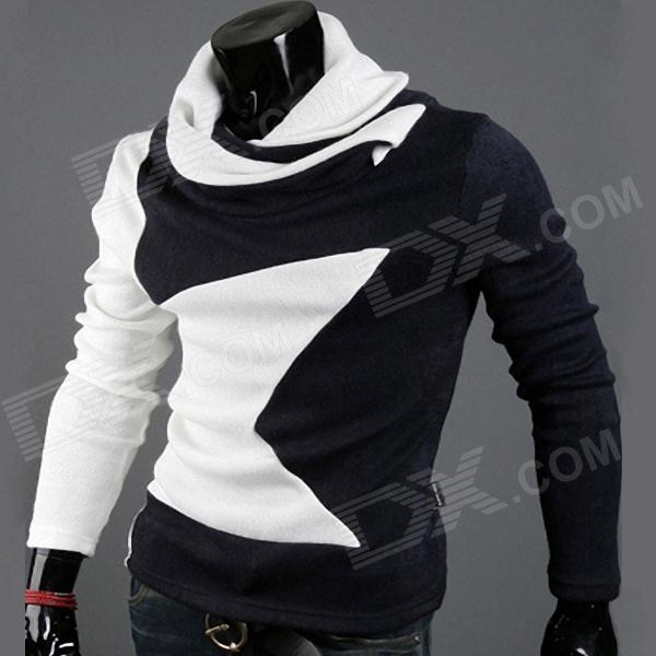 High-necked Long-sleeved Shirt for Men - White + Navy (Size-XXL)