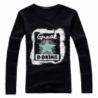 Stylish Star Pattern Men's Long-Sleeve T-shirt - Black (Size-XL)