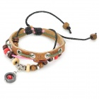 UBE UTY 2053 Modische Einstellbare Leder + Korn-Armband - Rot + Rosa + Multi-Colored