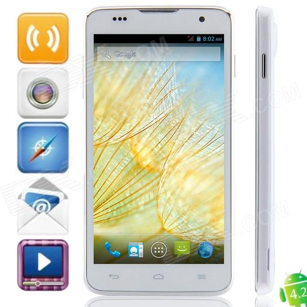 """JK12 MTK6582 Quad-core Android 4.2.2 WCDMA Bar Phone w/ 5.0"""", FM, Wi-Fi and GPS - White"""