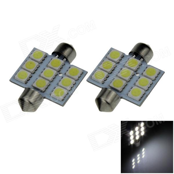 Festoon 36 milímetros 1.8W 180lm 9 x 5050 SMD LED White Light Car Reading / Telhado / Dome Lamp - (12V / Pair)