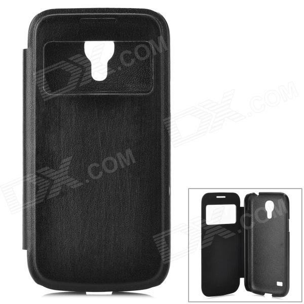 Protective Flip Open PU + Plastic Case w/ Display Window for Samsung S4 Mini - Black bamboo pattern protective pu flip open case w stand for samsung s4 mini deep brown