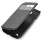 Protective Flip Open PU + Plastic Case w/ Display Window for Samsung S4 Mini - Black