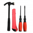 4-in-1 Flat / Cross Screwdrivers Hammer Knife Set