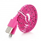 USB Male to Micro USB Male Woven Mesh Data Charging Cable for Samsung - Deep Pink (100cm)