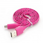 USB mann mikro-USB mannlige vevet netting Data ladekabel for Samsung - dype rosa (100cm)