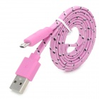 Buy USB Male Micro Woven Mesh Data Charging Cable Samsung - Pink (100cm)