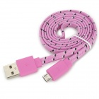 USB Male to Micro USB Male Woven Mesh Data Charging Cable for Samsung - Pink (100cm)