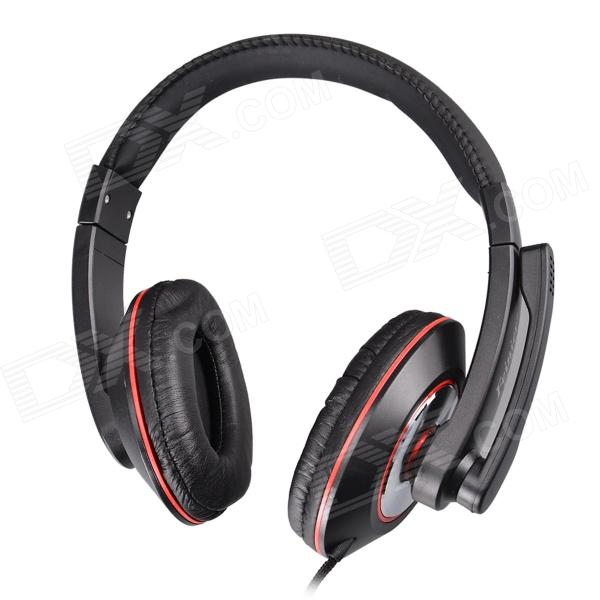 Feinier FE996 Stylish Headphones w/ Microphone for PC / Laptop - Black (3.5mm Plug / 184cm-Cable)
