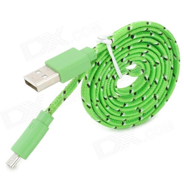 Micro USB Male to USB Male Woven Mesh Flat Data Cable for Samsung Galaxy S3 + More - Green (100cm)