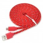 Micro USB Woven Mesh Charging Cable for Sony L39h + More - Red (3m)