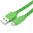 Micro USB Woven Mesh Charging Cable for Sony L39h + More - Green (3m)