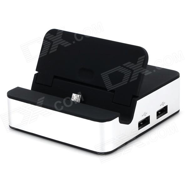 Lading Dock + 3-Port USB Hub + SD Card Adapter for Samsung - Black + sølv