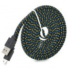 Micro USB Woven Mesh Charging Data Cable for Sony L39h / Xperia Z1 + More - Black (300cm)