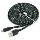 Micro USB Woven Mesh Charging Cable for Sony L39h + More - Black (3m)