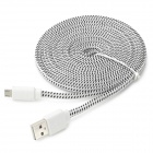 Micro USB Woven Mesh Flat Charging Cable for Sony L39h + More - White + Black (300 cm)
