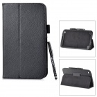 Protective PU Leather Case w/ Stylus for Samsung Galaxy Tab 3 / T311 / T310 - Black