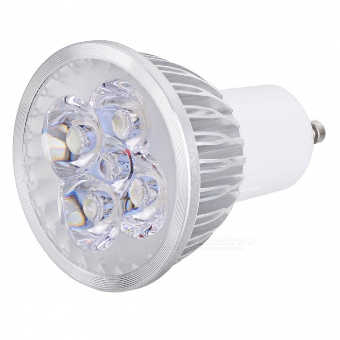 JRLED JR-LED-GU10-4W 320lm 6500K 4-LED White Light Spotlight - White + Silver (AC 220V) jrled gu10 5w 330lm 6500k white light led spotlight lamp silver white ac 85 265v 5pcs