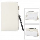 Protective PU Leather Case w/ Stylus for Samsung Tab 3 7.0 T210 / T211 / P3200 / P3210 - White