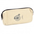 Retro Bike Pattern Linen Pencil / Glasses Bag - Beige