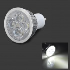 JRLED JR-LED-GU10-4W GU10 360lm 6500K 4-LED White Light Spotlight - Silver + White (85~265V)