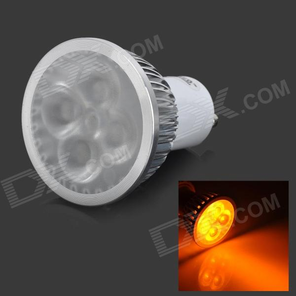 JRLED GU10 4W 100lm 4-LED Yellow Light Dimmer Decoration Spotlight - White + Silver (220V)