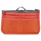 Thicken Nylon Double Zippered Makeup Wash Bag - Orange