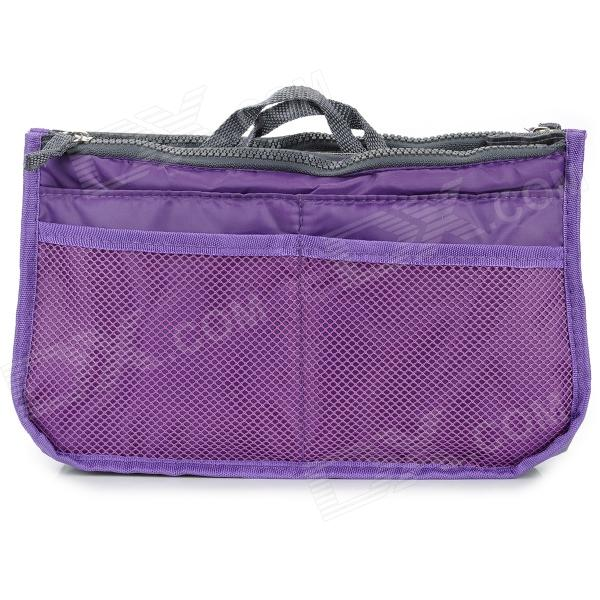 Thicken Nylon Double Zippered Makeup Wash Bag - Light Purple