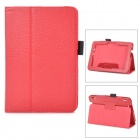Protective Lichee Pattern PU Leather Case w/ Stylus Holder for Kindle Fire HDX 7 - Red