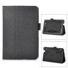 Protective Lichee Pattern PU Leather Case w/ Stylus Holder for Kindle Fire HDX 7 - Black