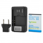 ''1600mAh'' Battery + 0.8'' LCD USB Power Charger + EU-Plug Adapter for Samsung Galaxy Ace S5830