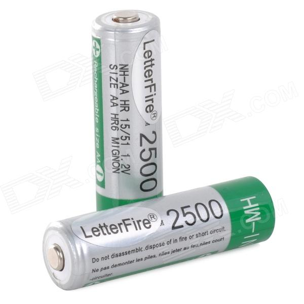 LetterFire 2500 Rechargeable AA 2500mAh Battery w/ Storage Box (2PCS)