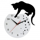 YKL008 Stylish Impressionism Cat Style Analog Wall Clock - Black + White (1 x AA)