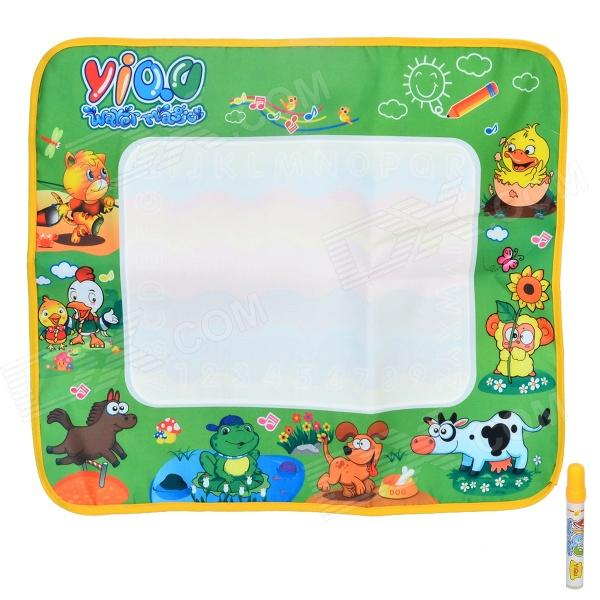 Reusable Water Painting Cloth + Pen Toy - Green + Multicolored