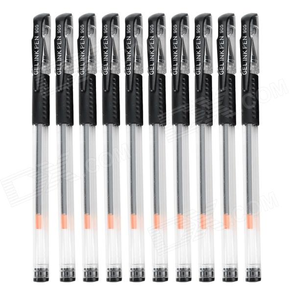 Black Ink Gel Pen Stationery - Black + Transparent (10 PCS)