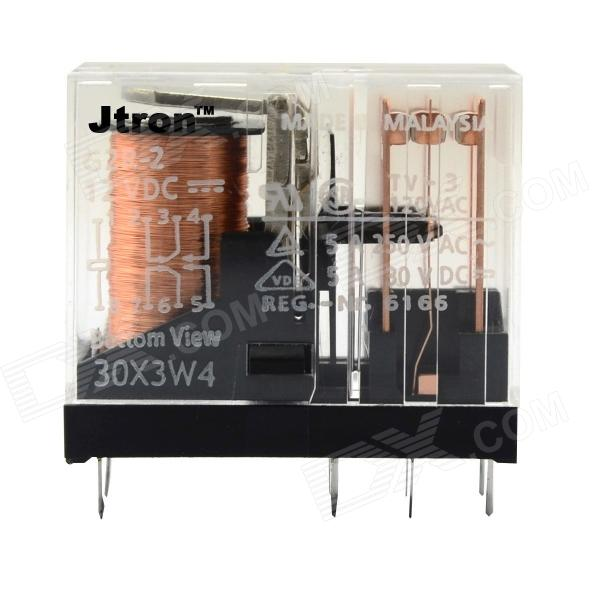 Jtron Double Pole Double Throw 8-pin Relay - Transparent + Black + Copper (12V / 5A) jtron 4 pin power relay black 12v 30a