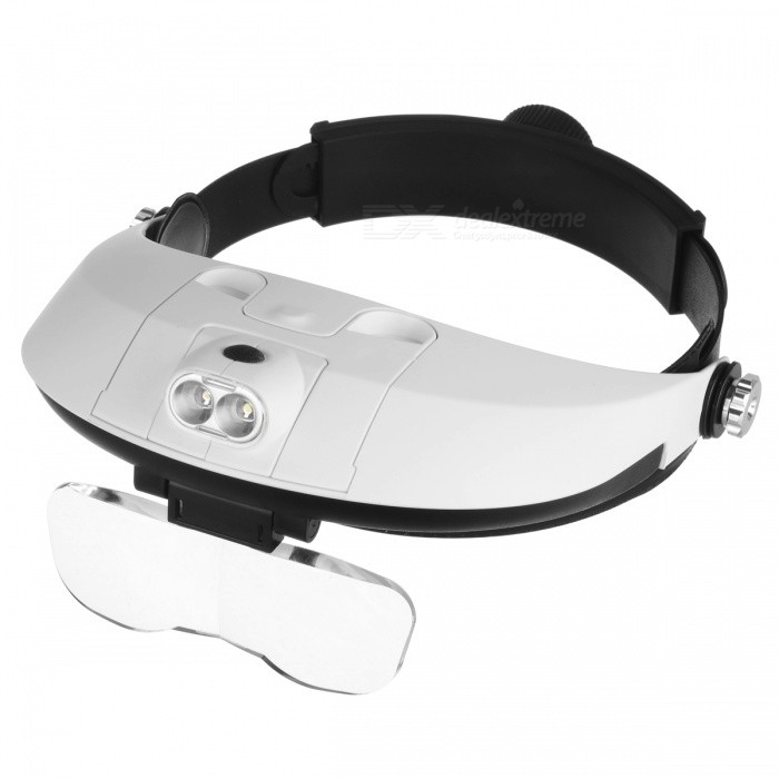 MG81001-H Two-way Regulation Head-Wearing Magnifier w/ 2-LED Light - Black + White (3 x AAA) cute personality cat ears wired headband headset hair head wear led headphone for girls kids
